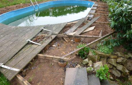 Gartenpool Wittertes Holzdeck