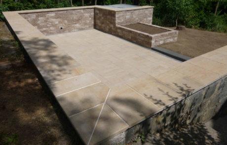 Moderne Sandstein Terrasse