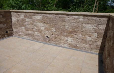 Terrassen Windschutzmauer Verblendmauerwerk